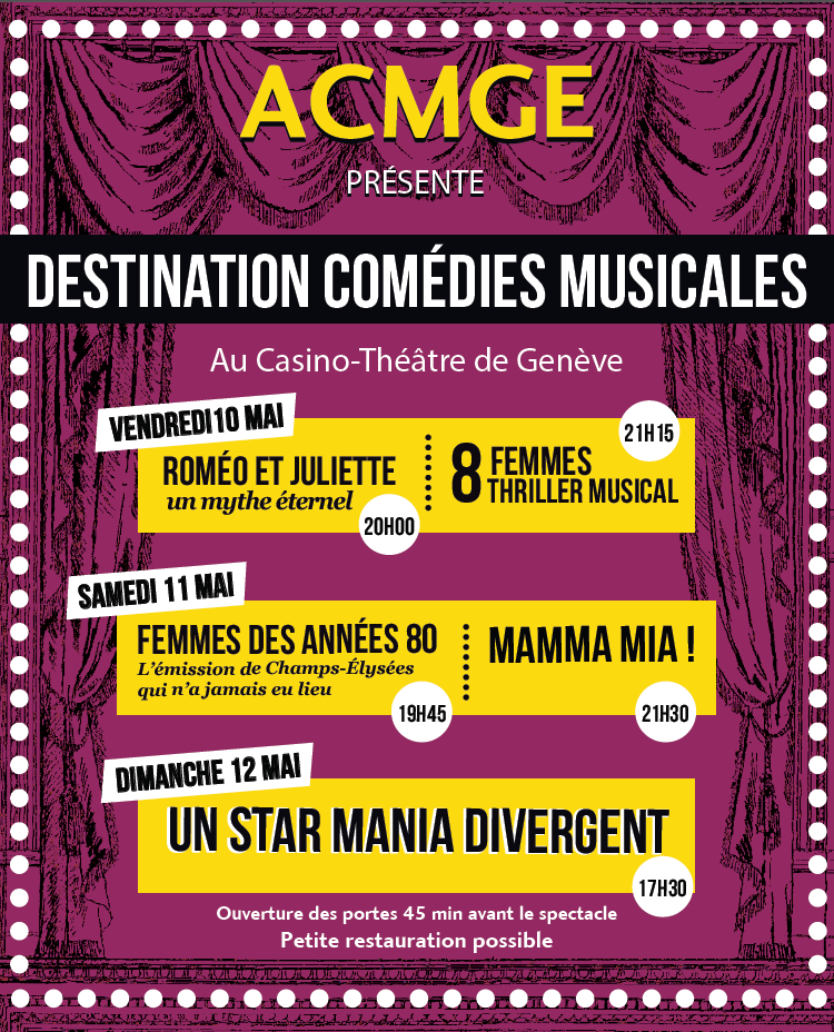 Destination Comédies Musicales 2019! Au Casino Théâtre de Carouge